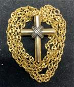 Luxe 18 K GOLD Chain Cross Necklace, Vntg Italy