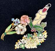 Lot3 Vintage Enameled Jewelry Accessories