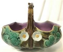 Antique MAJOLICA Porcelain Floral & Leaf Basket