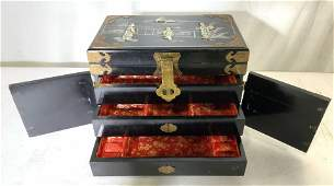 Asian Lacquer Brass Mother of Pearl Jewelry Box