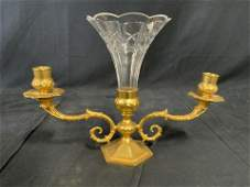 Antique Italian Gilt Bronze Crystal Epergne, WA