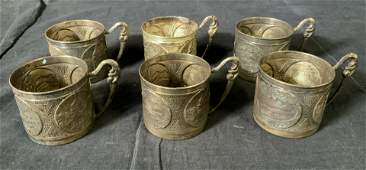 Set 6 Vintage Sterling Tea Glass Holders Israel