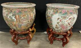 Pair Hand Painted Asian Planters w Stands