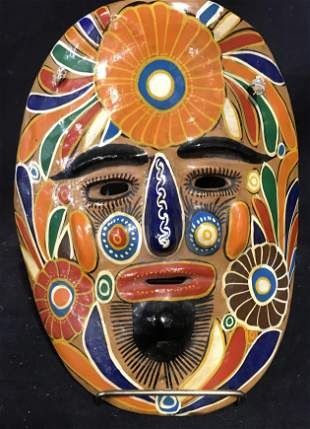Hand Painted Folk Art Earthenware Mask