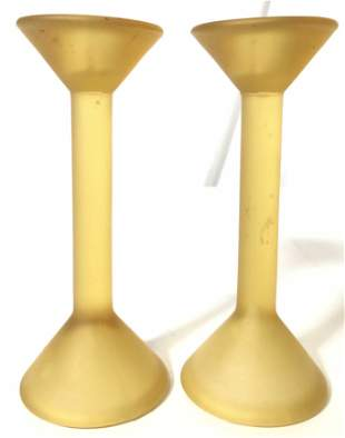 Pair Frosted Amber Toned Art Glass Candlesticks