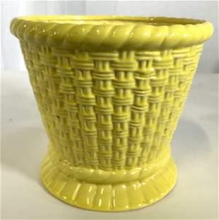 Glazed Yellow Ceramic Planter Cache Pot