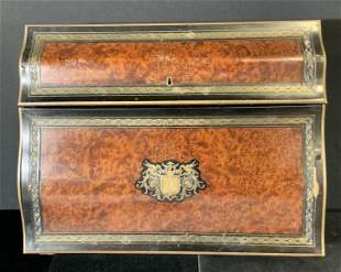 Antique Wooden Lap Desk with Brass Inlay