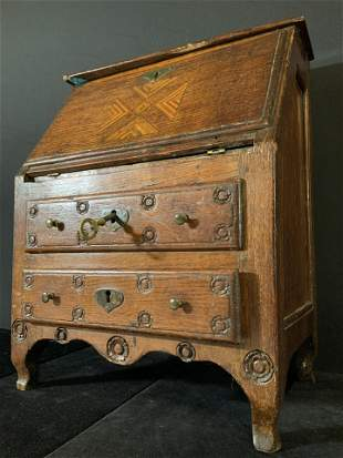 Antique Wooden Tabletop Secretary Desk Jewelry Box
