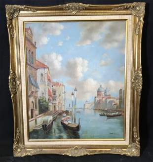 EDWARD JACKSON Signed Oil on Canvas Venice Scene