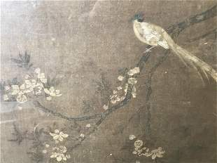 Asian Painting on Fabric Pheasant on Branch Artwork