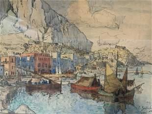 Signed Capri Watercolor Painting 1926