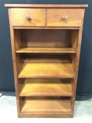 Vintage Carved Wooden Shelf W Drawers