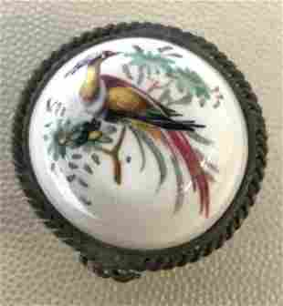 SIGNED Porcelain Peacock Theme Snuff Pill Box