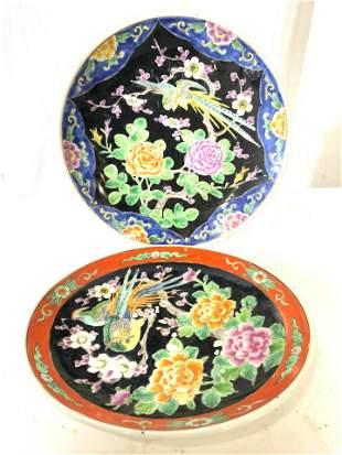 Lot 2 Japanese Hand Painted Famille Noir Plates