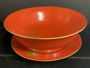 Early Meiji Asian Antique RED LACQUER Bowl & Plate