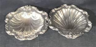 Pair BLACKINGTON Vntg Silver Plate Shell Dishes