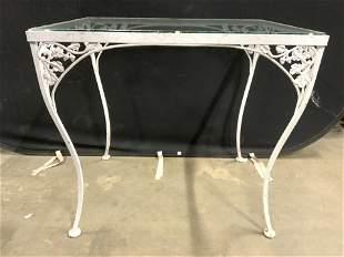Vintage Outdoor Metal Glass Top Table