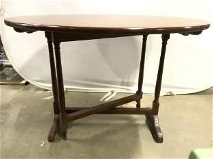 Vintage Carved Wooden Tilt Table Snack Table