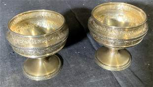 Cellini Set 2 Sterling Silver Gold Wash Nut Dishes