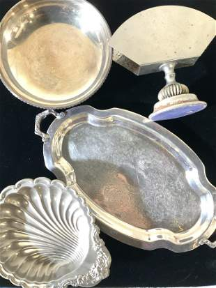 Group 3 Vntg Silver Plated Tabletop Accessories