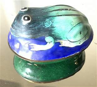 ANTIQUE FROG Figural Enamel On Brass Pill Box