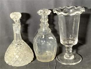Lot 3 Vntg Clear Art Glass Tableware Accessories