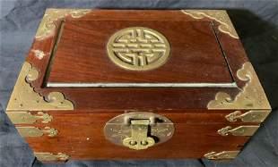 Wood & Brass Asian Jewelry Box