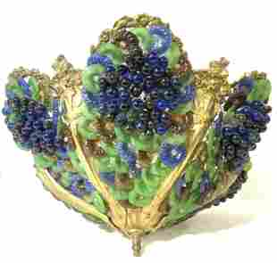 Vntg MURANO Venetian Glass Grape Floral Chandelier