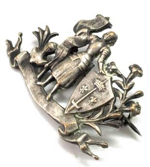Vintage FLEUR DE LIS Knight & Shield Brooch