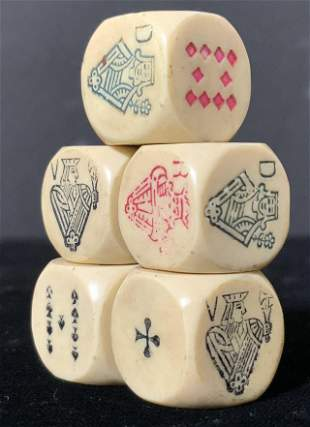 Set 5 Vintage Six Sided Poker Dice
