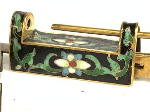 Chinese Cloisonné On Brass Box/ Chest Lock w Key