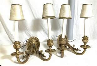 Pair Vintage Baroque Gilt Bronze Wall Sconces