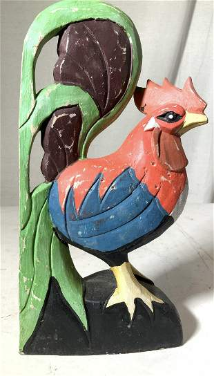 Painted Wood Rooster Figural 13 in H
