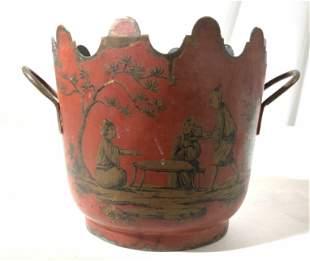 Antique Asian Red Gold Tole Cache Pot
