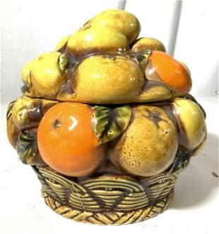 Vintage INARCO Porcelain Pottery Fruit Basket