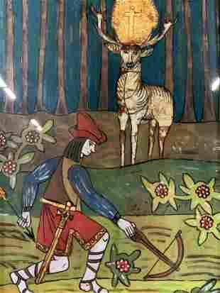 Reverse Painting of Saint Hubert Artwork