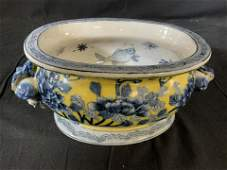 Signed Asian Blue Yellow Ginger and Fish Vessel
