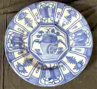 Large Asian Hand Painted Ceramic Platter