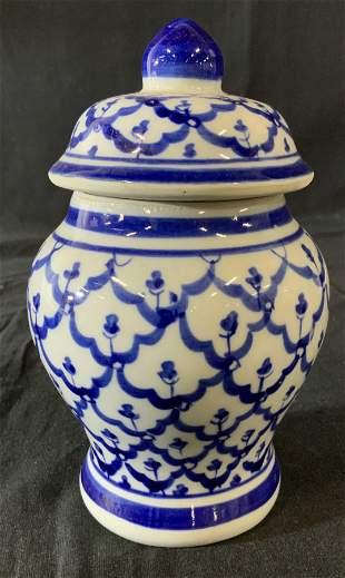 Modern Blue White Porcelain Ginger Jar