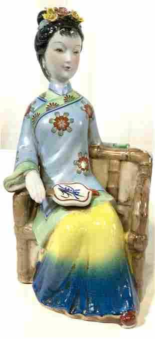 Vintage Asian Ceramic Seated Female Figural