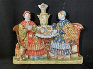 Hand Painted Russian Ceramic Wall Plaque