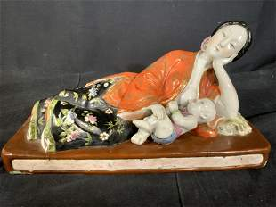 Signed Asian Porcelain Mother w Baby