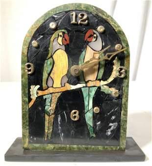 HALLER Stone Mosaic Parrot Mantle Clock, Brazil