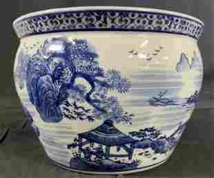 Asian Blue White Porcelain Planter