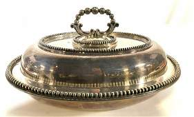 Antique ELKINGTON Silver Pl Covered Server, C1910
