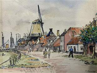 P MONDRIAAN Signed Watercolor Painting, Dutch Town
