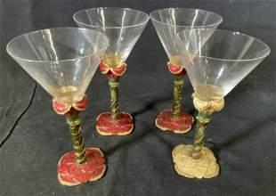 Set 4 2 SAINTS Jeweled Cocktail Glasses