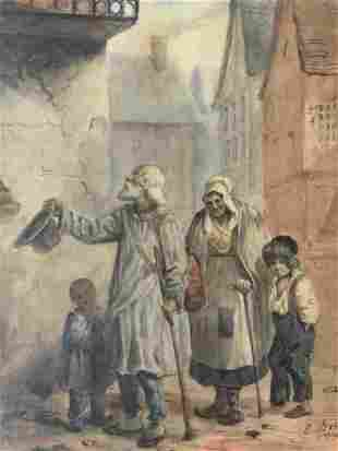 E BERAL Signed Watercolor Painting 1840 Artwork