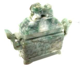 Carved Mottled JADEITE FU DOG Lidded Trinket Box