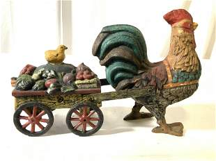 Antique Iron Rooster Pulling Wagon W Chicks Toy